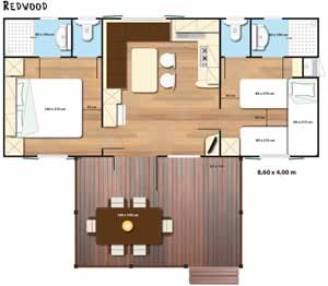 Plattegrond Redwood Sunlodge stacaravan