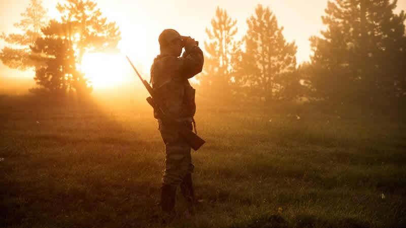 Jager in bos, jacht in Frankrijk