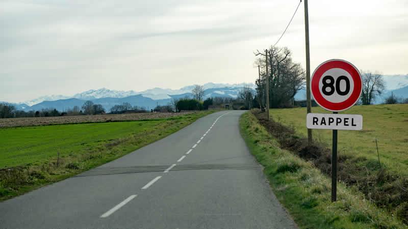 Maximale snelheid op secundaire wegen Frankrijk