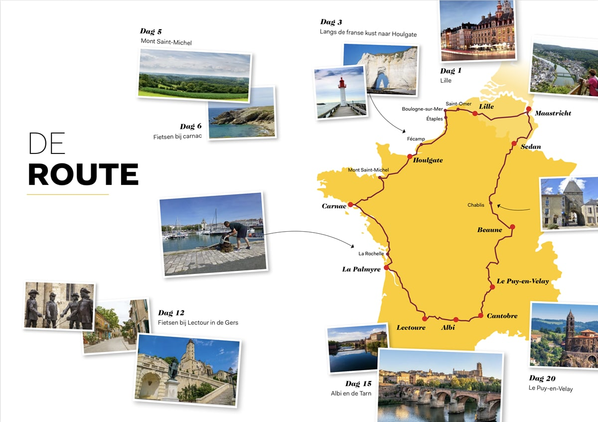 De route van 4100 kilometer dwars door Frankrijk