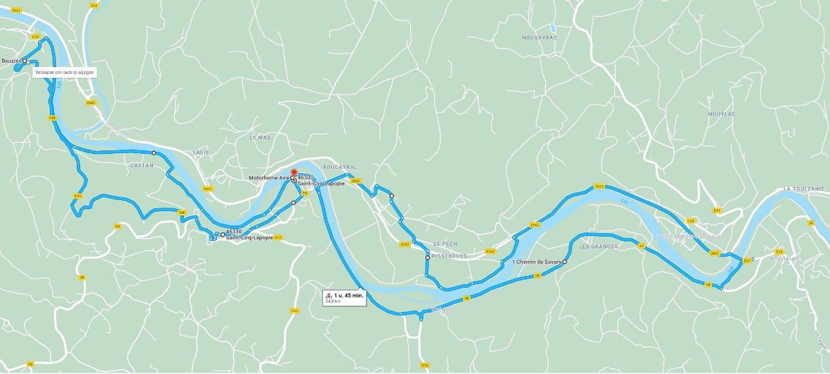 Fietstocht 25 kilometer Saint-Cirq-Lapopie