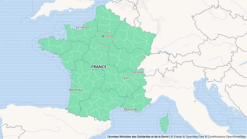 Corona kaart Frankrijk