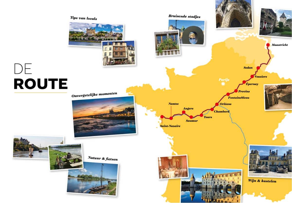 De route van Frankrijk Binnendoor LOIRE