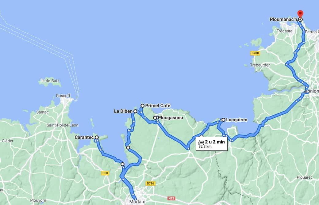 Route langs de kust van Bretagne